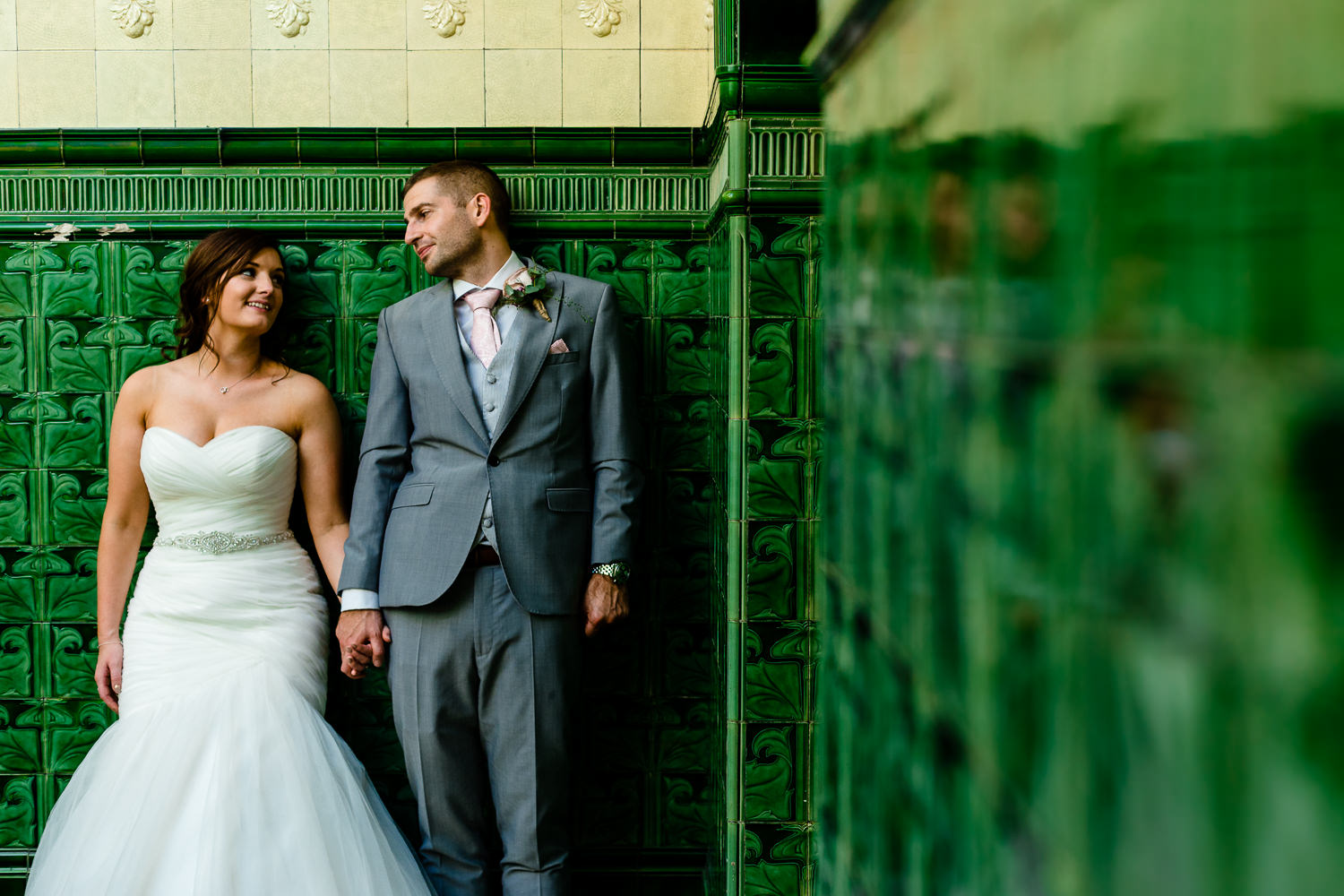 Victoria Baths wedding photography, Kirsty & Kirk with the iconic green tiles.