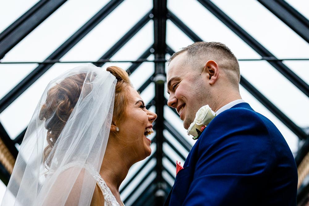 Worsley Marriot wedding photographers, Cheryl & Rob Laughing.
