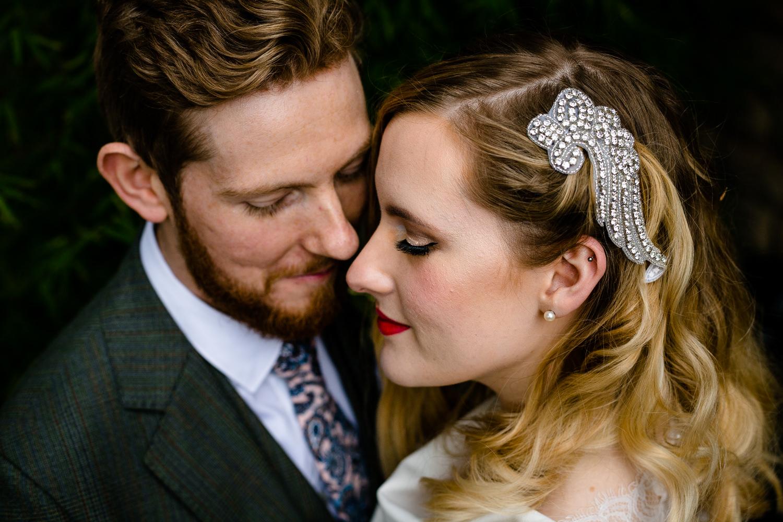 Chorlton Wedding Photographer, Rose and Josh close to each other.