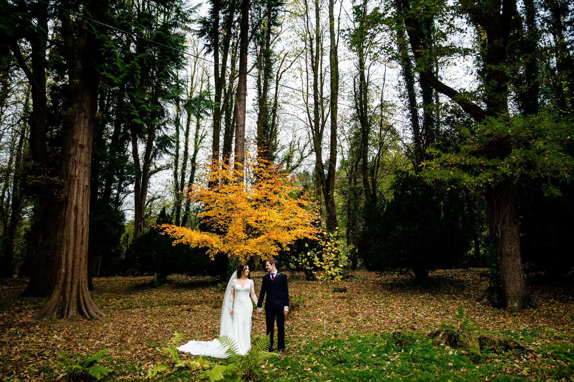 Bride and groom stood in a colourful sutumnal forest at their Wales wedding