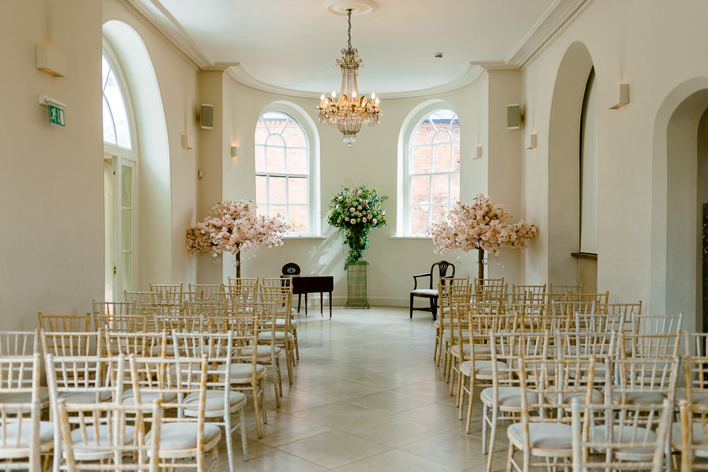 Iscoyd Park Wedding Ceremony room by About Today Photography