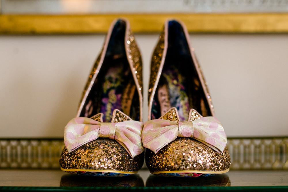 Irregular Choice wedding shoes in the bridal prep room at Iscoyd Park