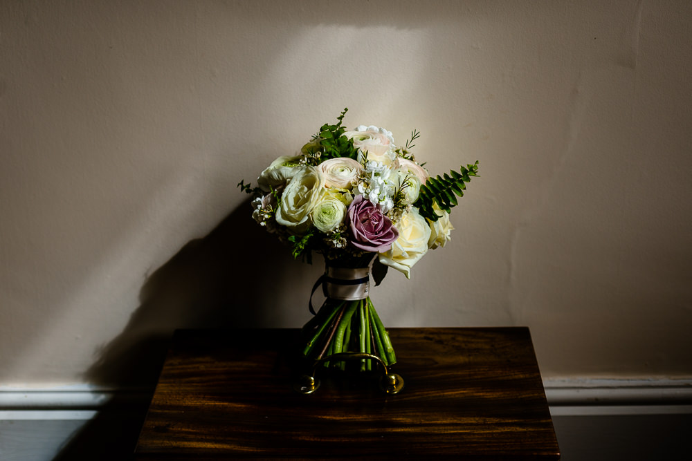 Bridal bouquet bathed in sunlight at Iscoyd Park