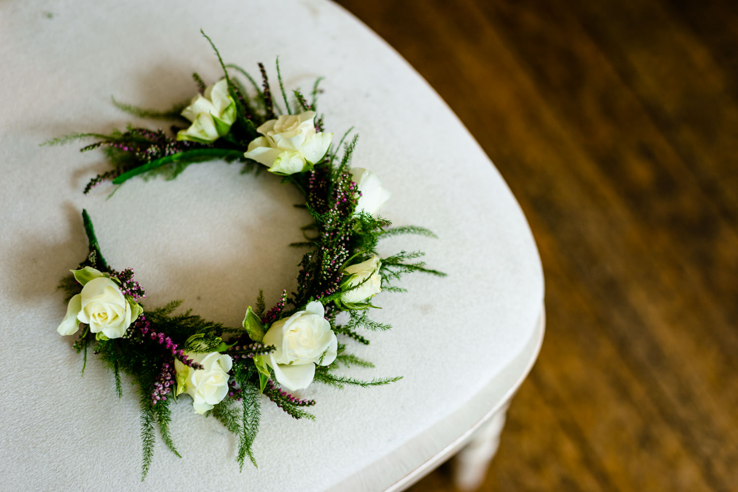 Floral crown worn by the bride.