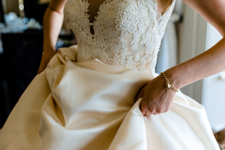 Mori Lee lace wedding dress detail.