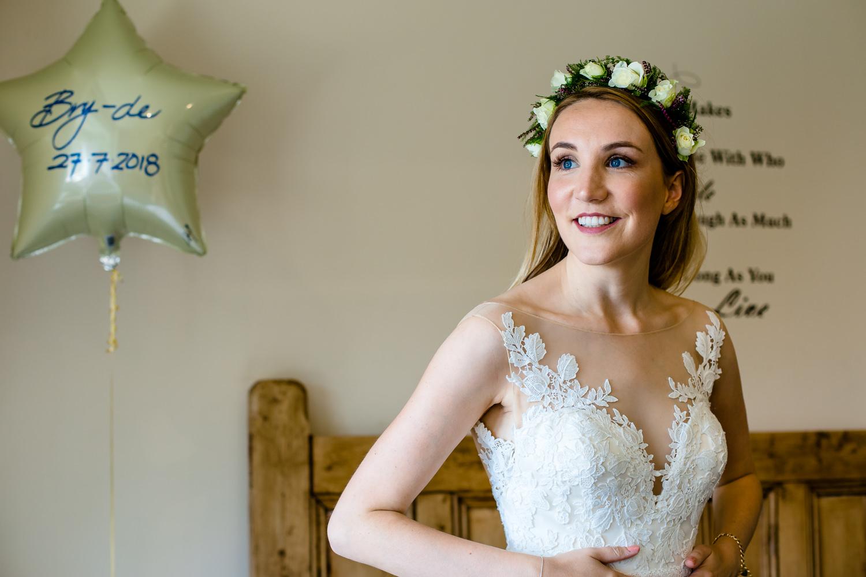 A bride in a wild flower crown.
