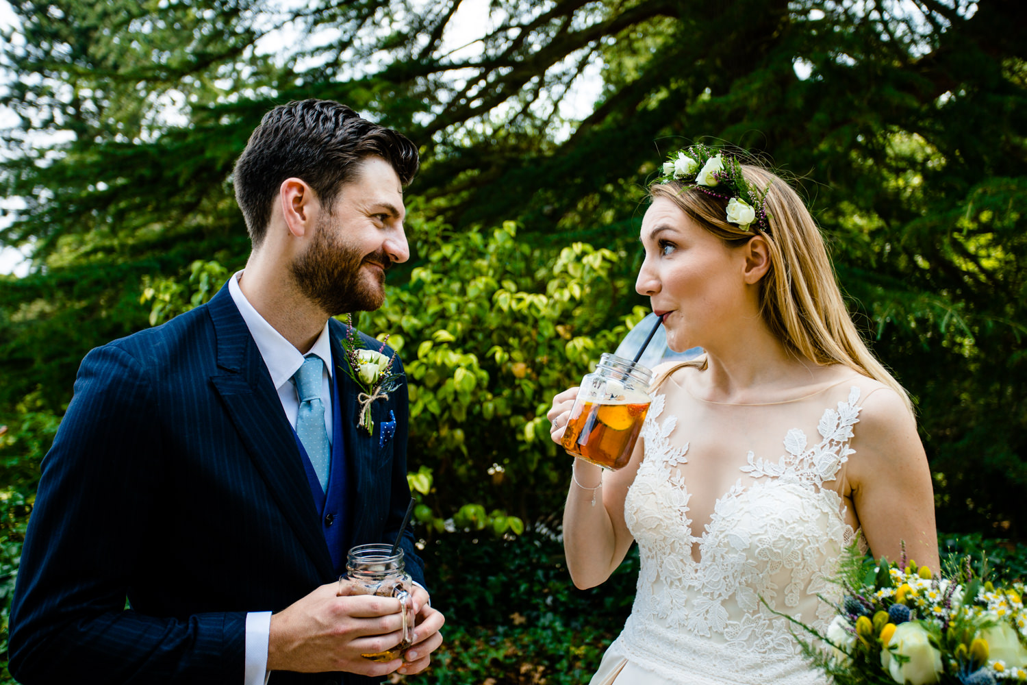 Bride and groom drinking Pimms relaxed Whirlowbrook Hall photographer