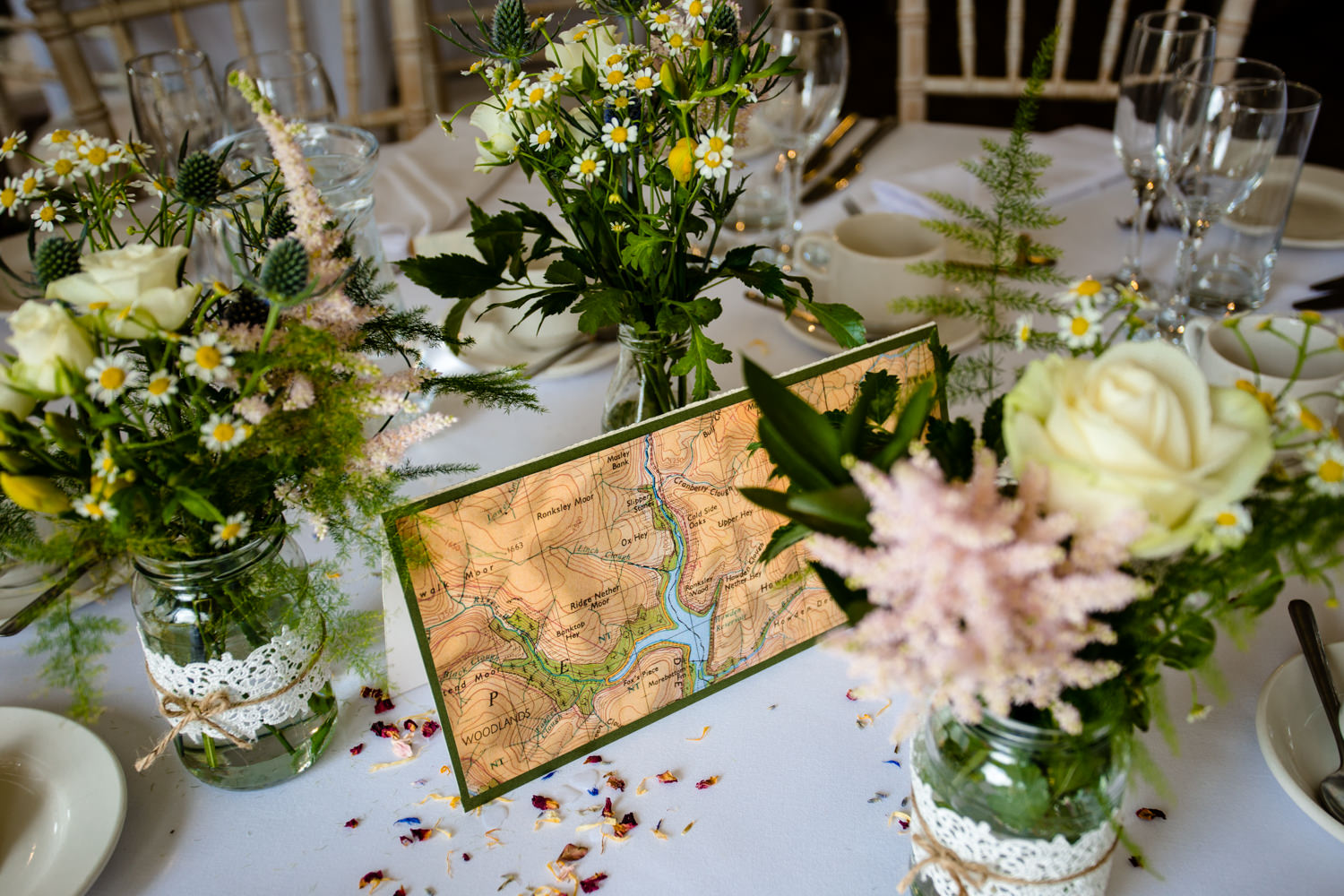 Wedding table decor inspired by The Peak District.