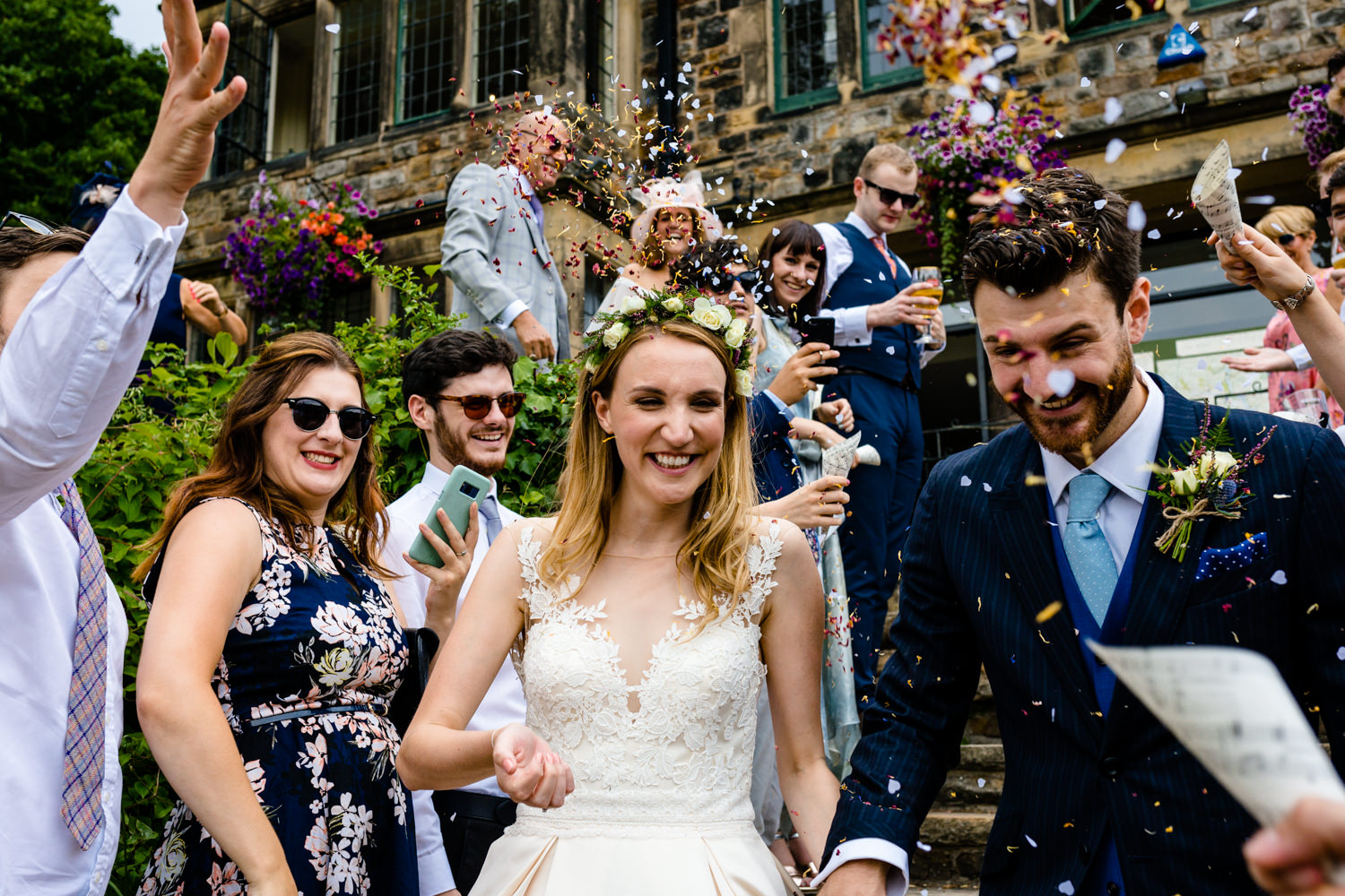Confetti shot, wedding photographs Whirlowbrook Hall