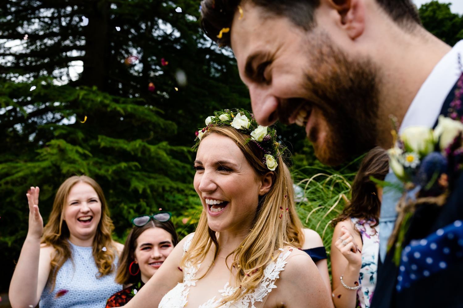 Confetti close up Whirlowbrook Hall	wedding photos