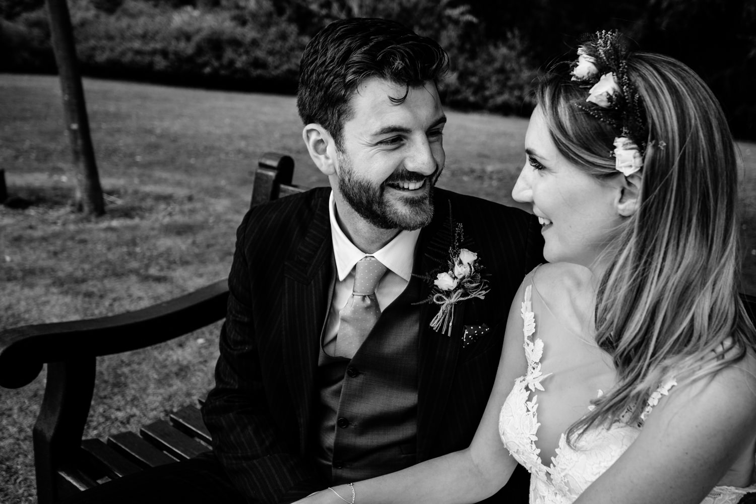 A groom smiling,  relaxed Whirlowbrook Hall photographs