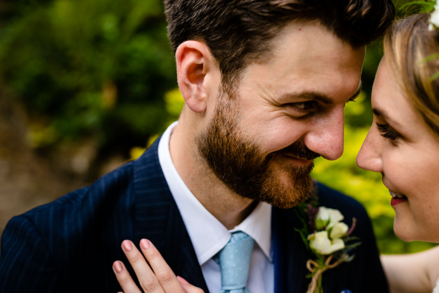 Bride and groom portrait, Colourful Whirlowbrook Hall photography