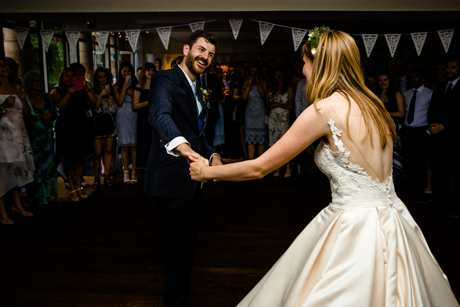 First dance twirl,  relaxed Whirlowbrook Hall photos