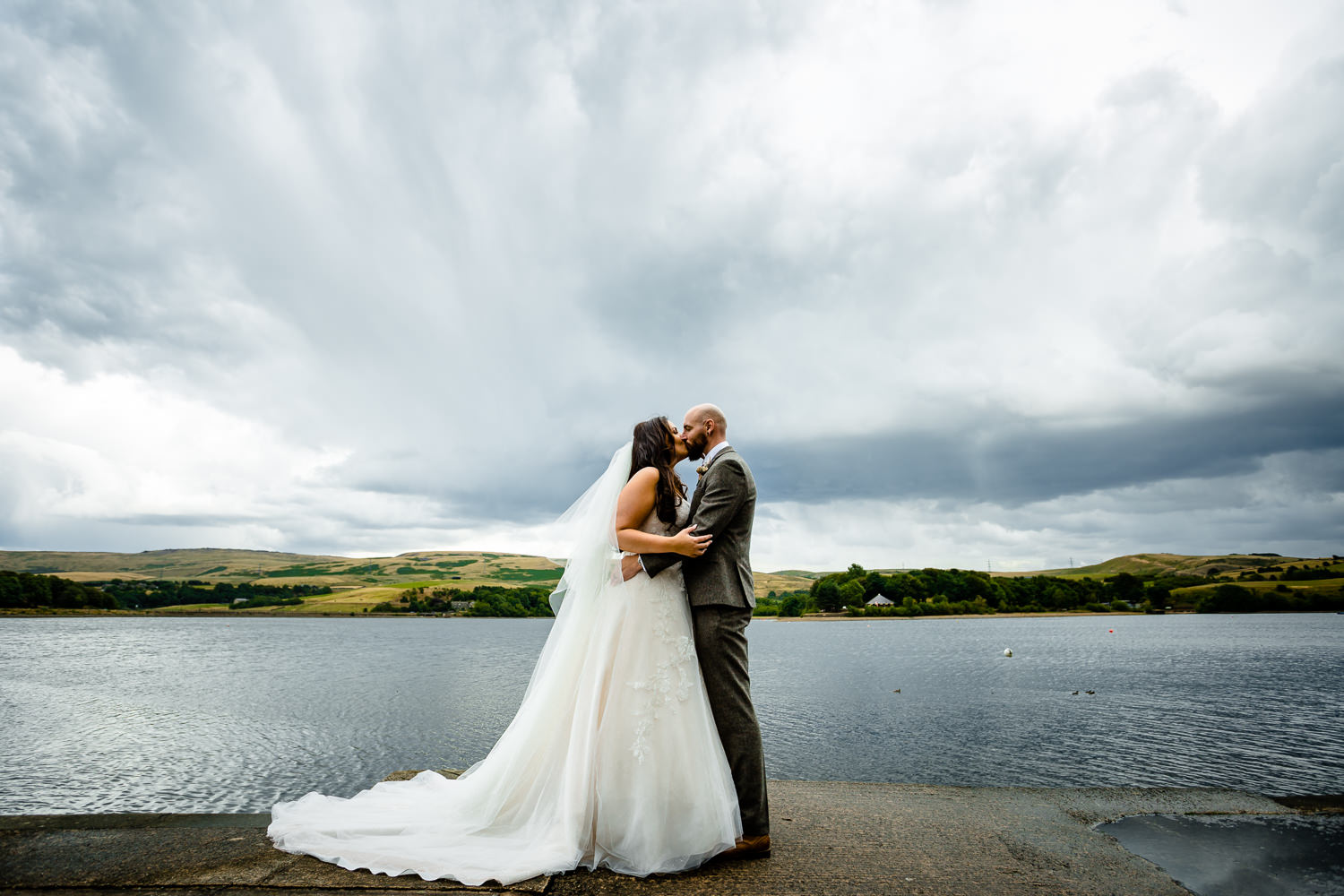 Rochdale wedding photography at Hollingworth Lake during a storm