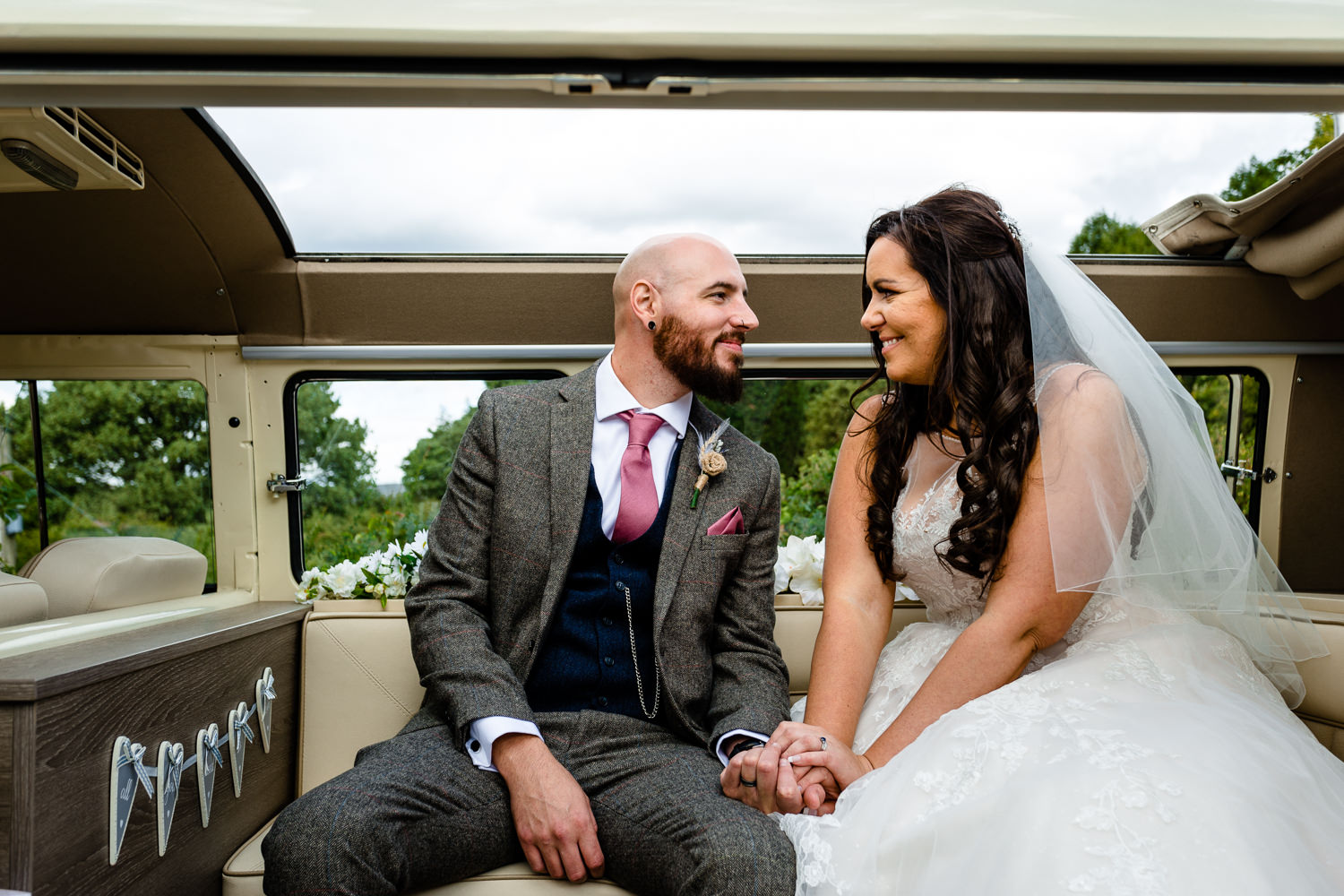 Rochdale wedding photo, bride and groom in a vintage VW campervan