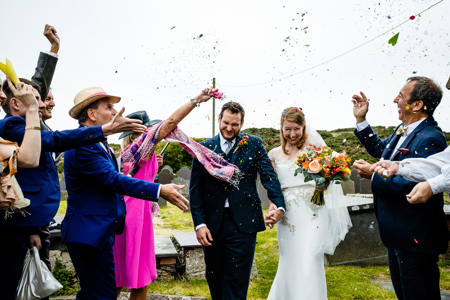 Colourful confetti, wedding photos Anglesey