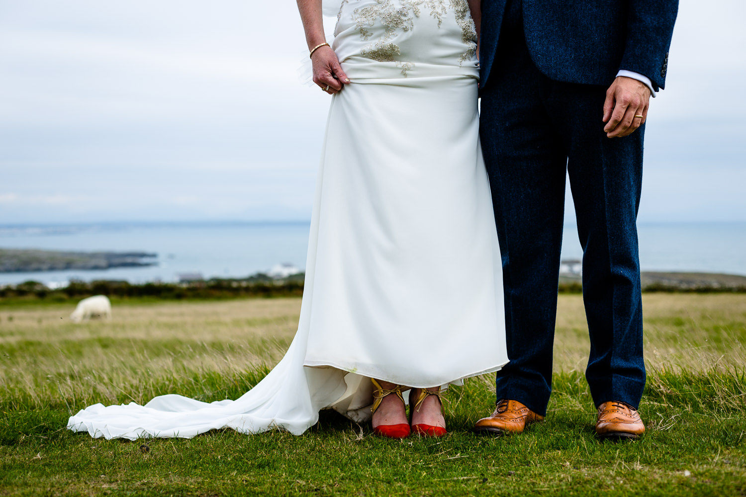 A bride and grooms shoes, Colourful Anglesey wedding photographer