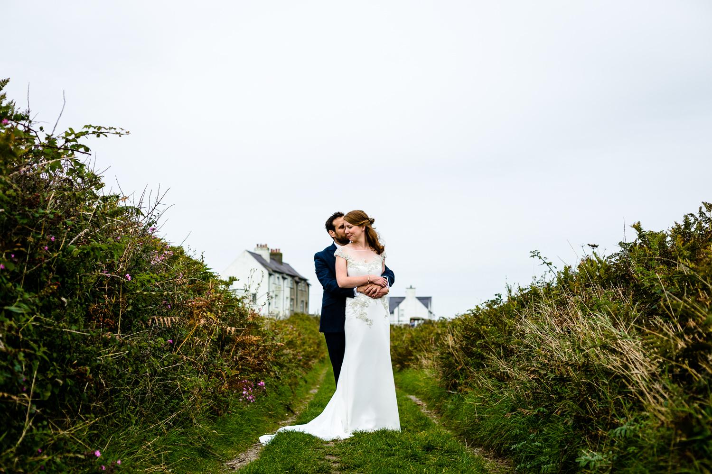 Stef and Simon on their wedding day, Anglesey wedding photographers