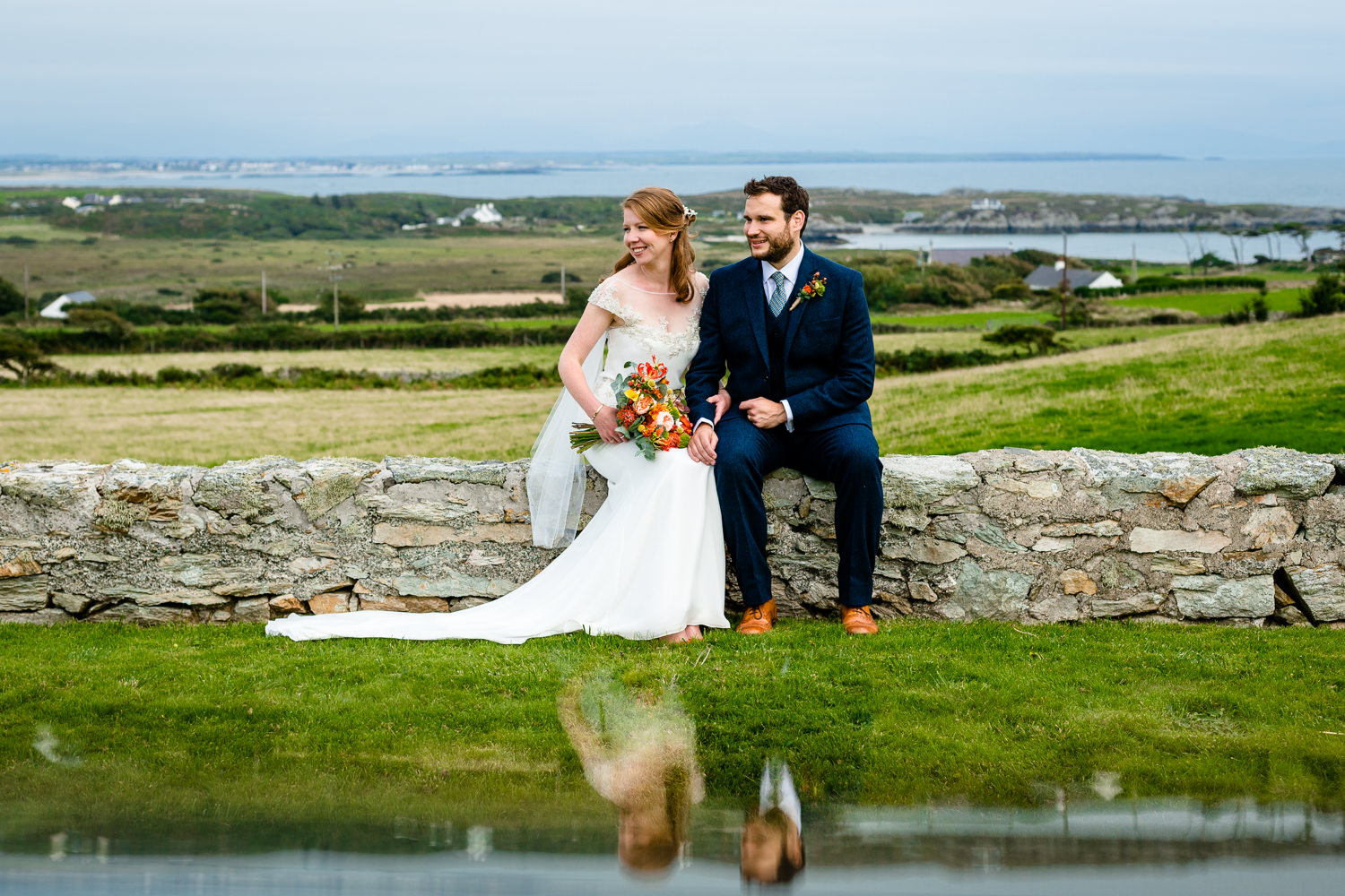 A bride and grooms couple shoot Anglesey wedding photograph