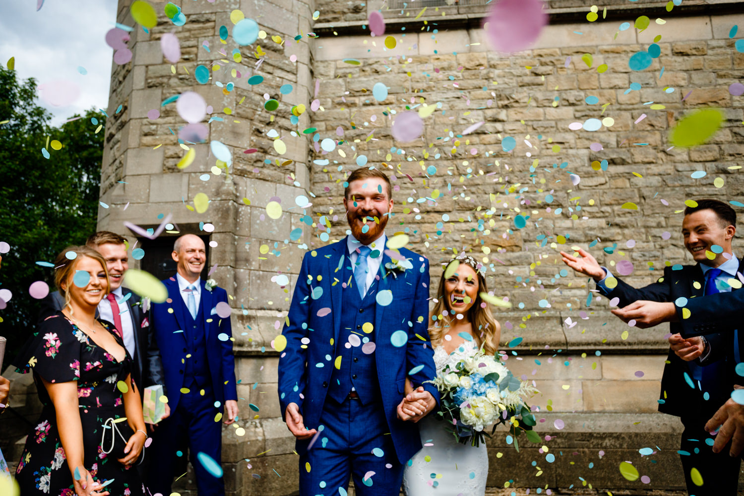 Intimate Wedding Photographer Manchester, Colourful confetti