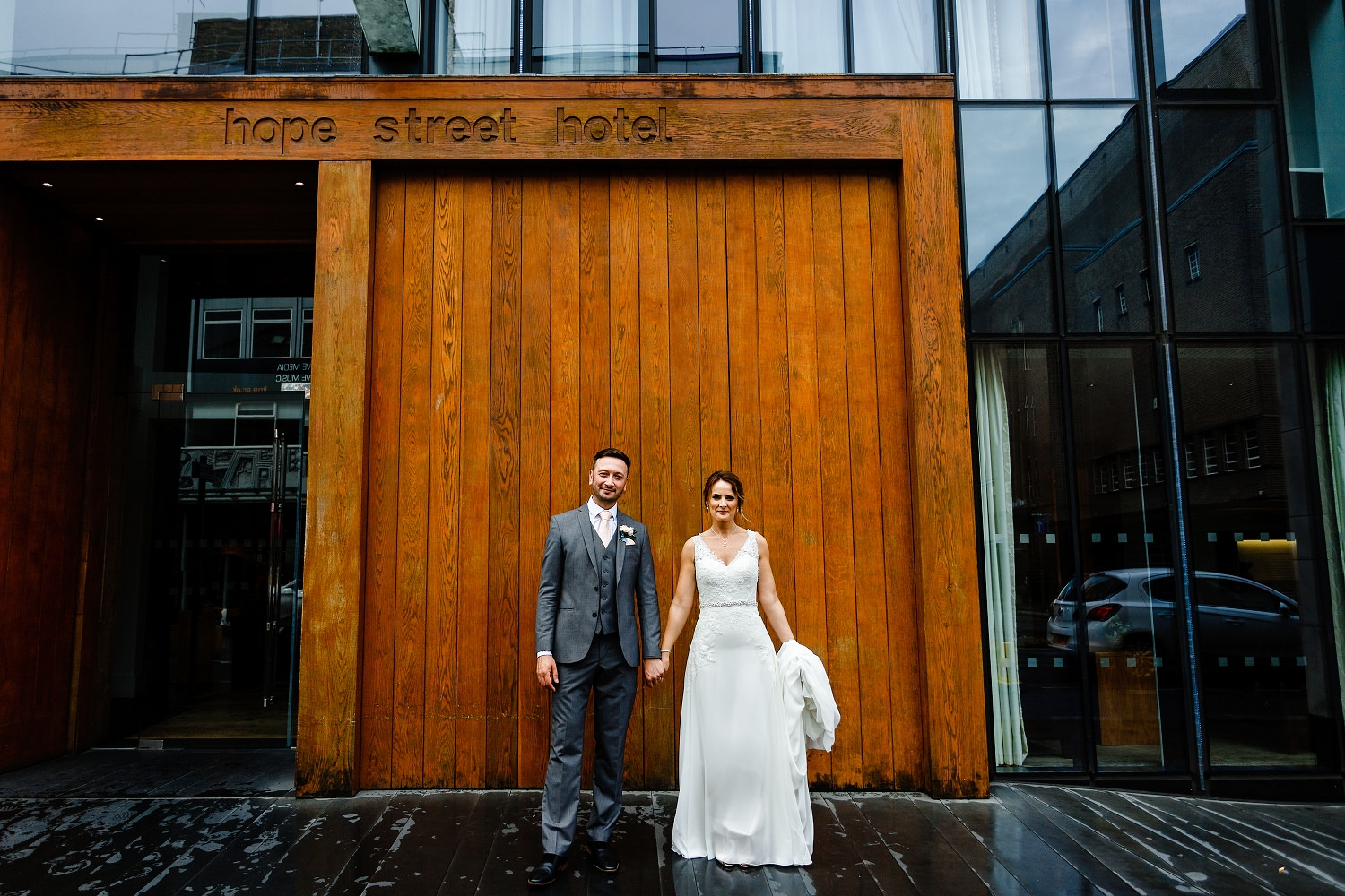 A Bride and Groom outside Hope Street Hotel on their wedding day