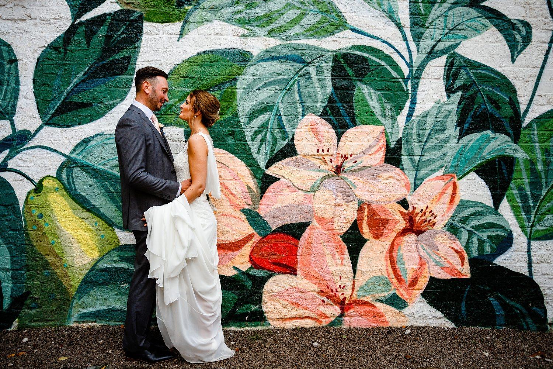 Wedding Photographer Hope Street Hotel, floral wall mural