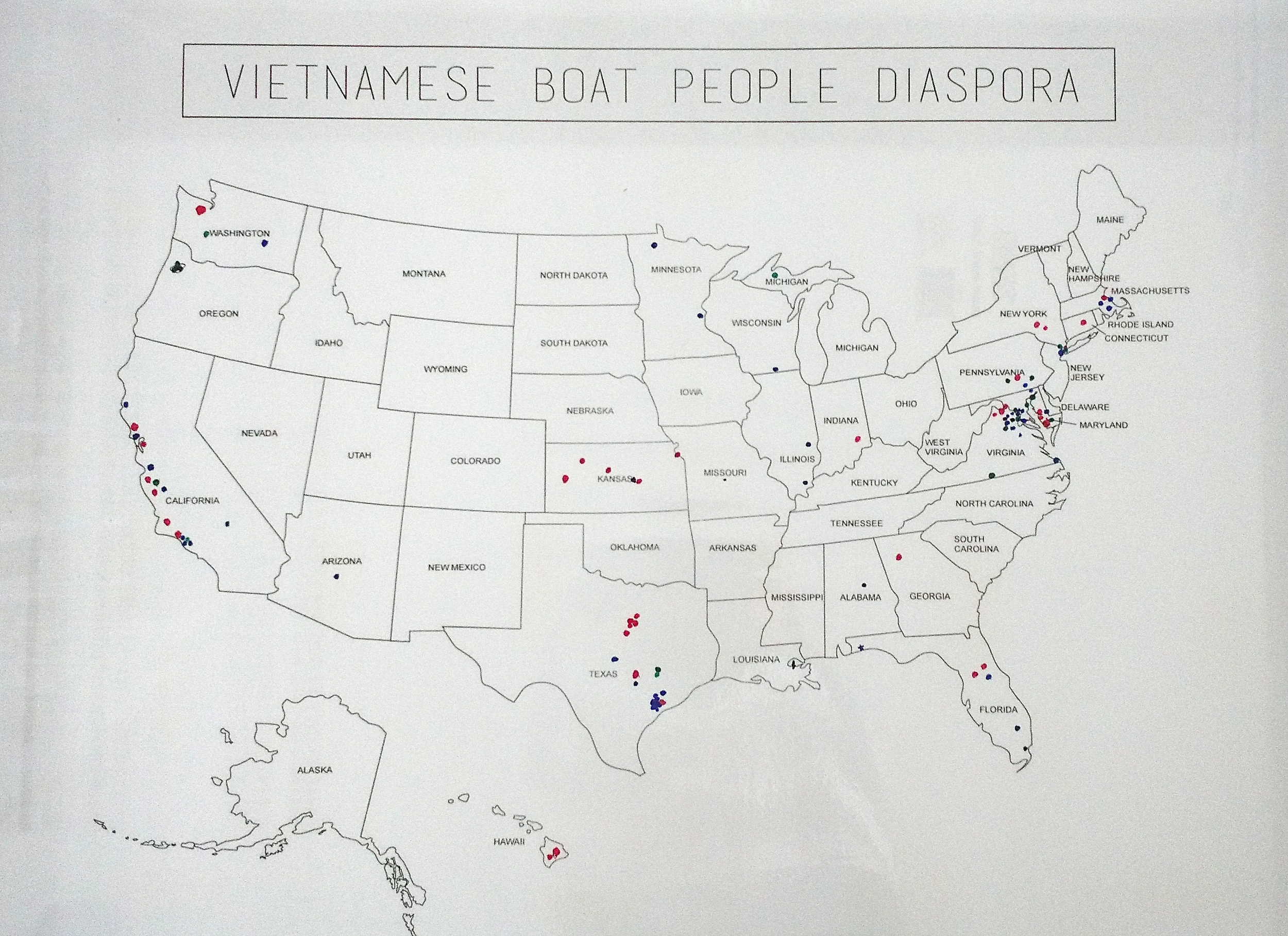 Vietnamese Boat People Diaspora Map (USA) (This picture of the map was taken at the midway point of the event, therefore it is missing a few data points.)