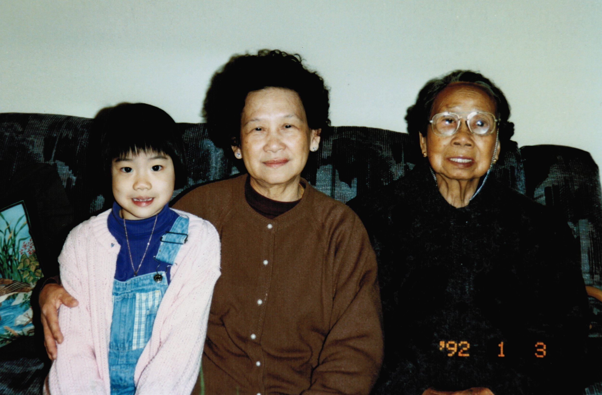 Casey with her maternal (left) and paternal (right) grandmothers