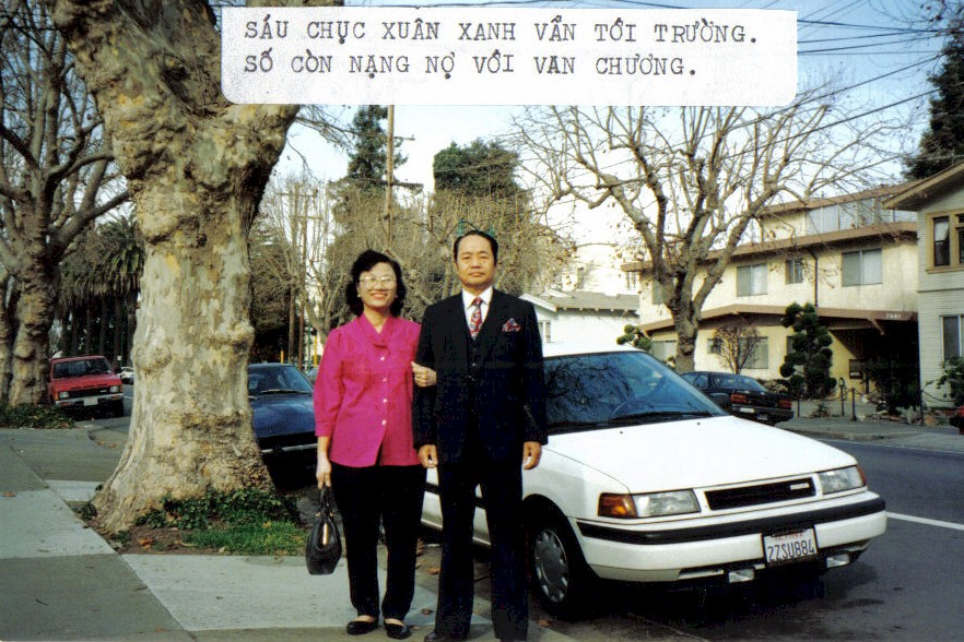 """A photo of my grandparents with a caption that was typed out on my grandfather's typewriter. The caption, written in jest, reads: """"Sixty years young I am still going to school. My destiny has a heavy debt with literature."""" They both were on their way to take English and computer classes."""