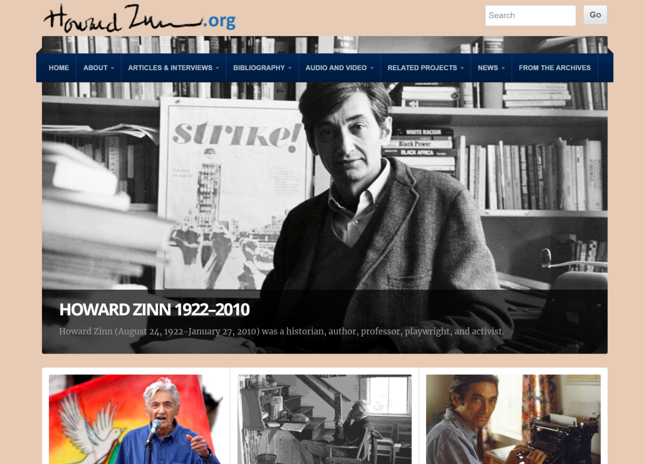 Homepage of the Howard Zinn website.