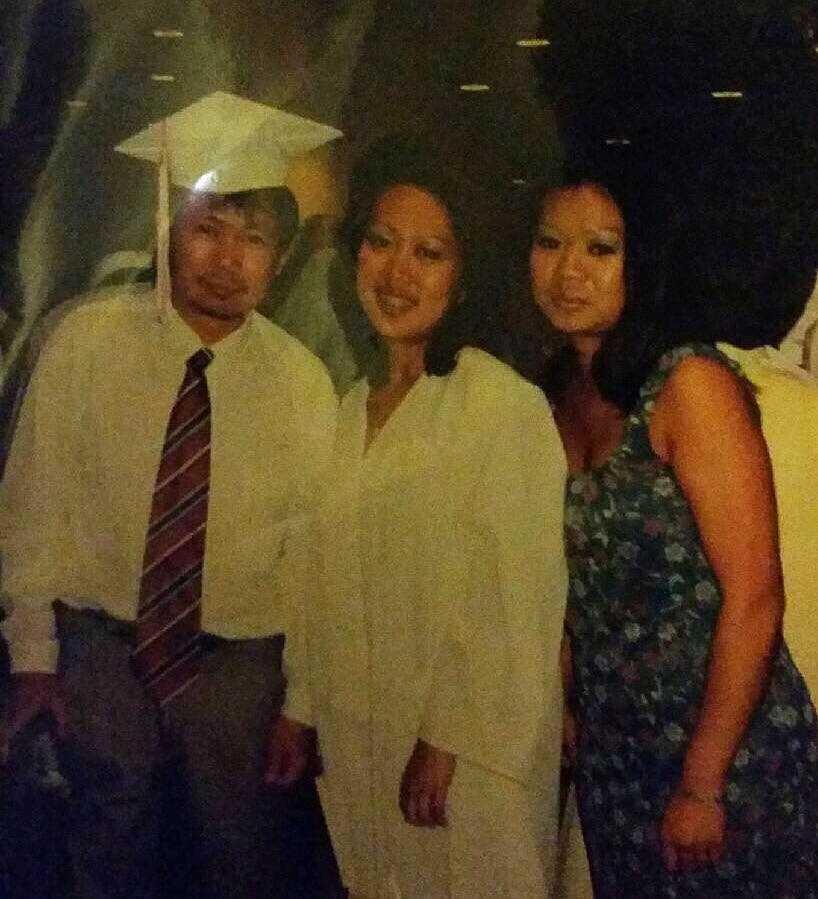 At my high school graduation, with my proud Dad and younger sister.
