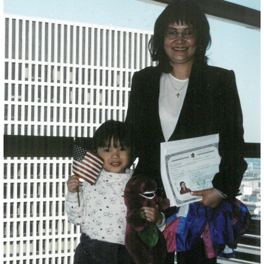 My mom and I after her Naturalization Ceremony, 1997.