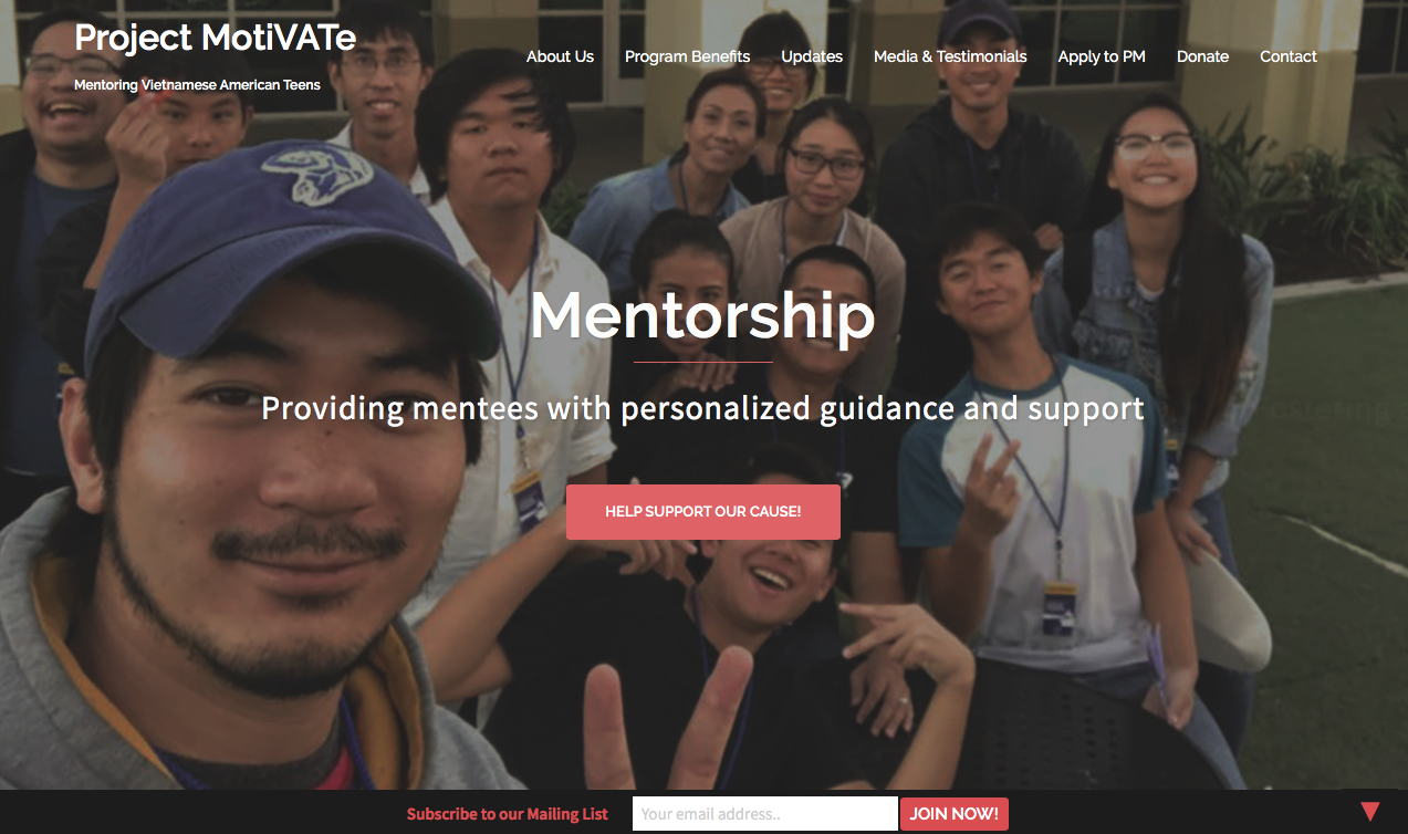 Screenshot of PM's homepage.