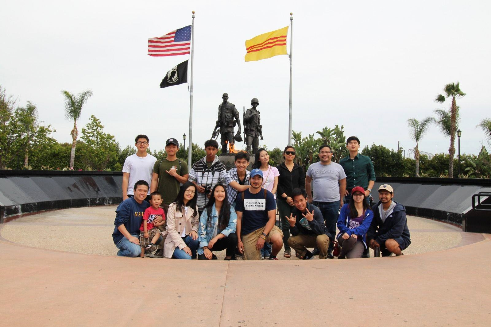 Group photo in front of Sid Goldstein Freedom Park in Orange County.    Read about how PM commemorated the 43rd anniversary of the Fall of Saigon for April's Monthly Activity.