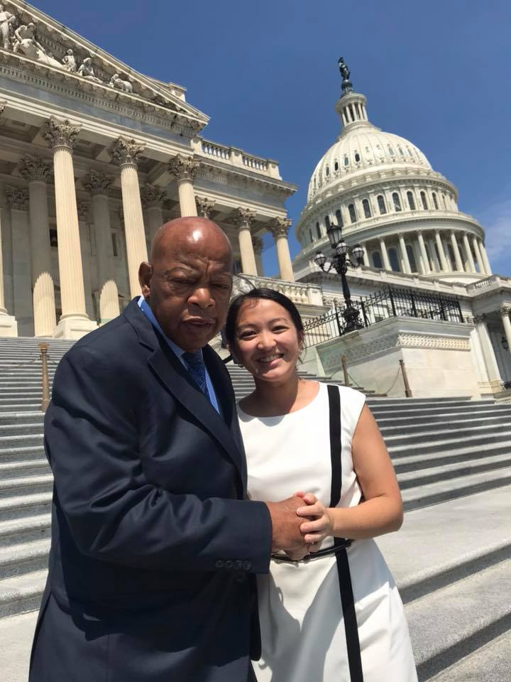 Monica with Congressman John Lewis on the steps of the US Capitol.