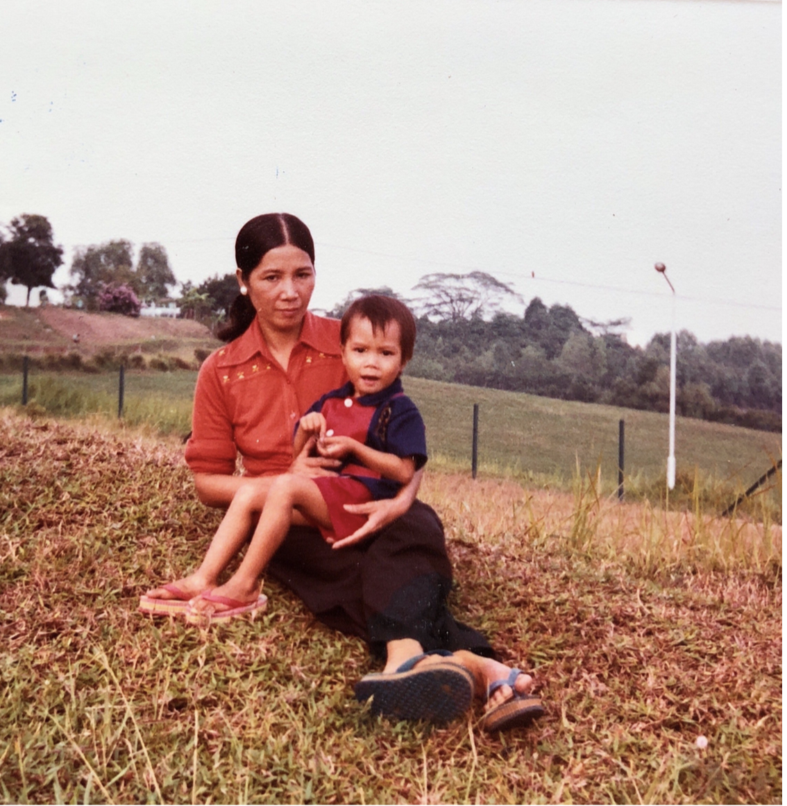 This is me and my mom at Singapore Refugee Camp in 1981. I was three years old.