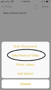 Screenshot of a note with option to add photo