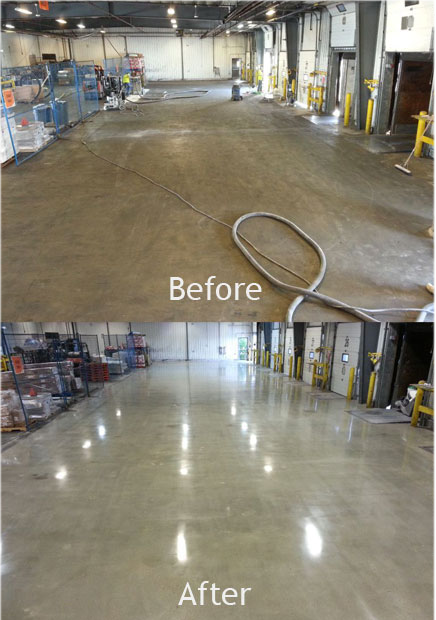 Polished Concrete greatly reduces dusting & the annual cost of forklift tire replacement by providing an extremely strong and smooth surface!