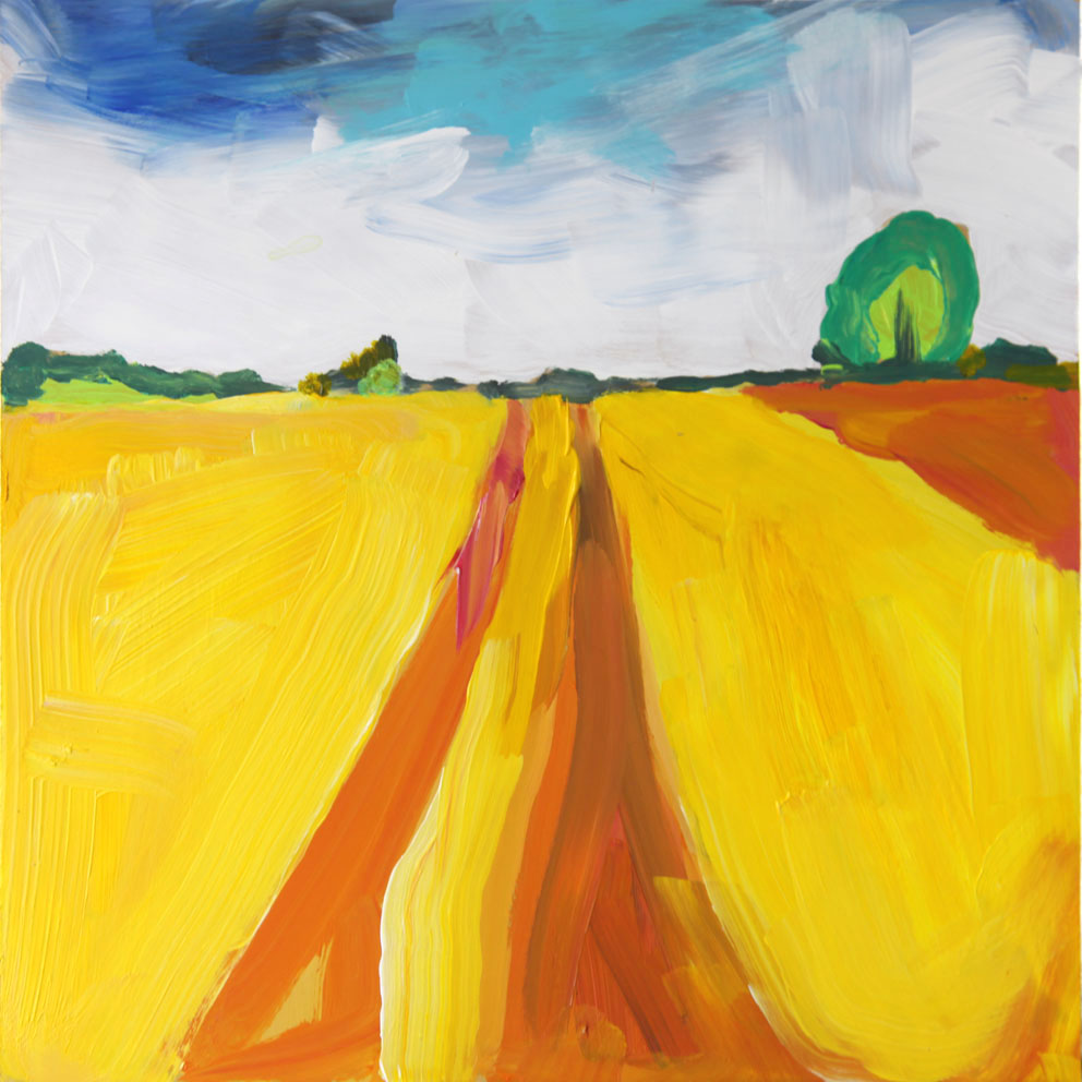 Yellow Field, Northumberland 2013 | 33.3 x 33.3 cm Acrylic on board Signed   BUY PRINT