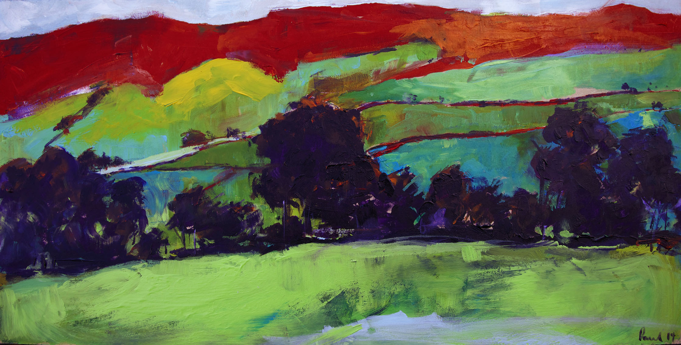 Llanfyrnach, Wales 2014 | 66 x 33 x .5cm Acrylic on board Signed SOLD