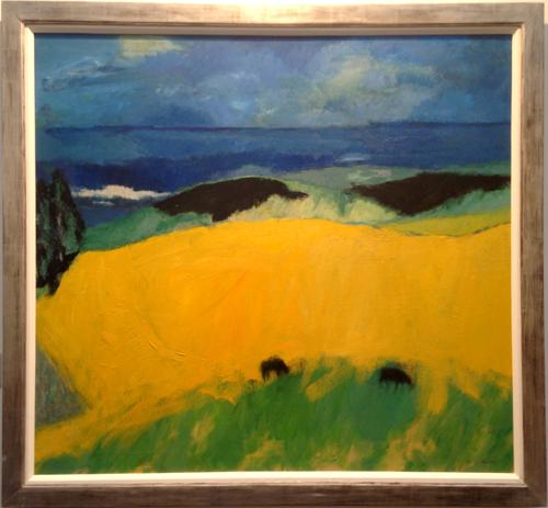 John Houston – Yellow Field by the Sea (1979) Ewan Mundy Fine Art