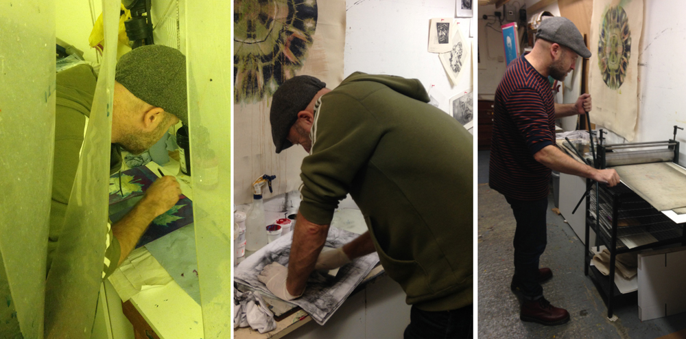 Preparing the etching plates / Inking a plate / at the press