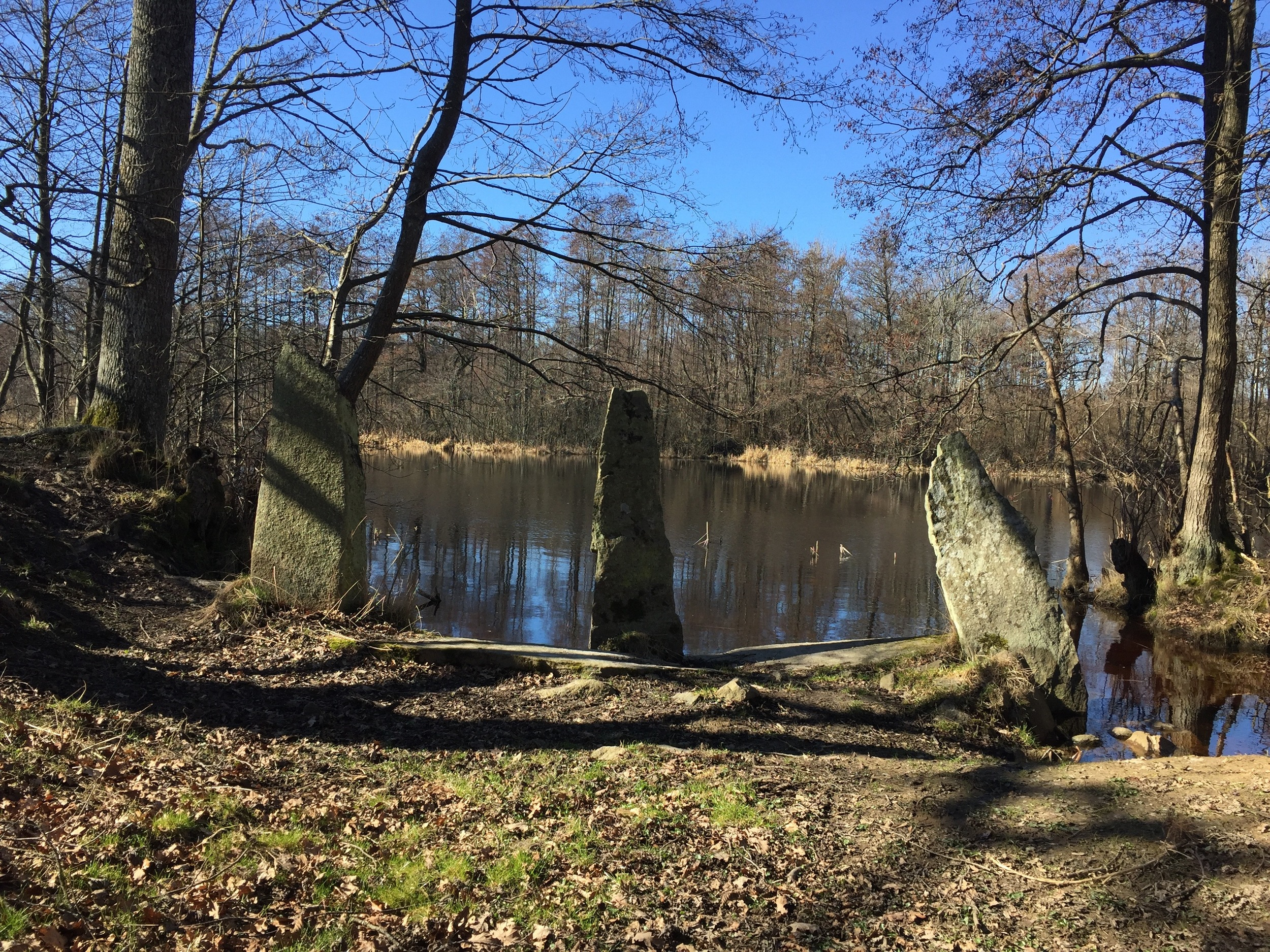 Three standing stones on the bank of the Lyckebyån