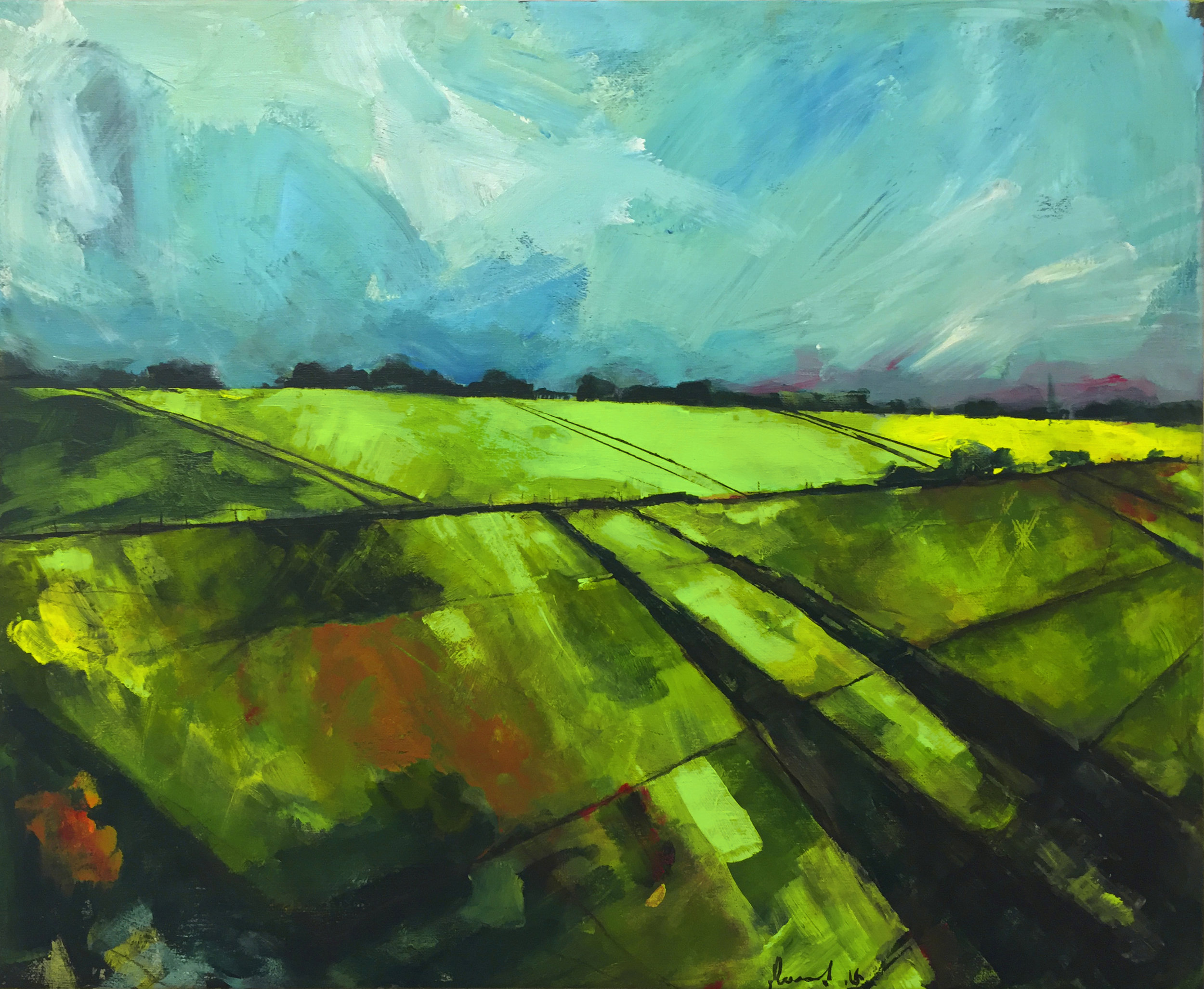 Fields, Alnmouth  2016 | 59.5 x 49.5 x 1.5cm Acrylic on canvas Signed on front  £  700 - S  OLD