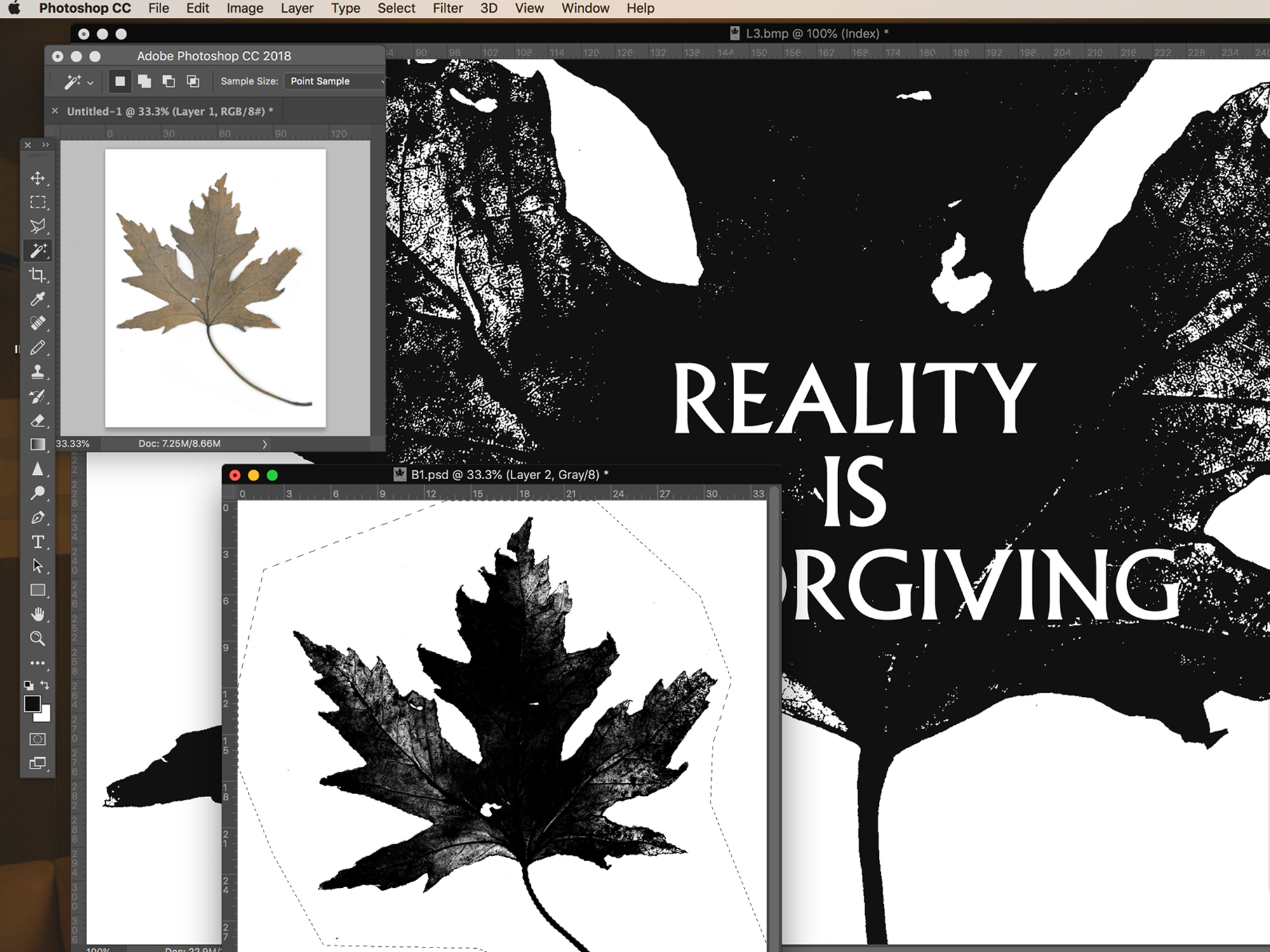 Scanning the leaf, converting to Bitmap with type added in Photoshop. It's important to bitmap the image to remove excess 'mid tone' grey