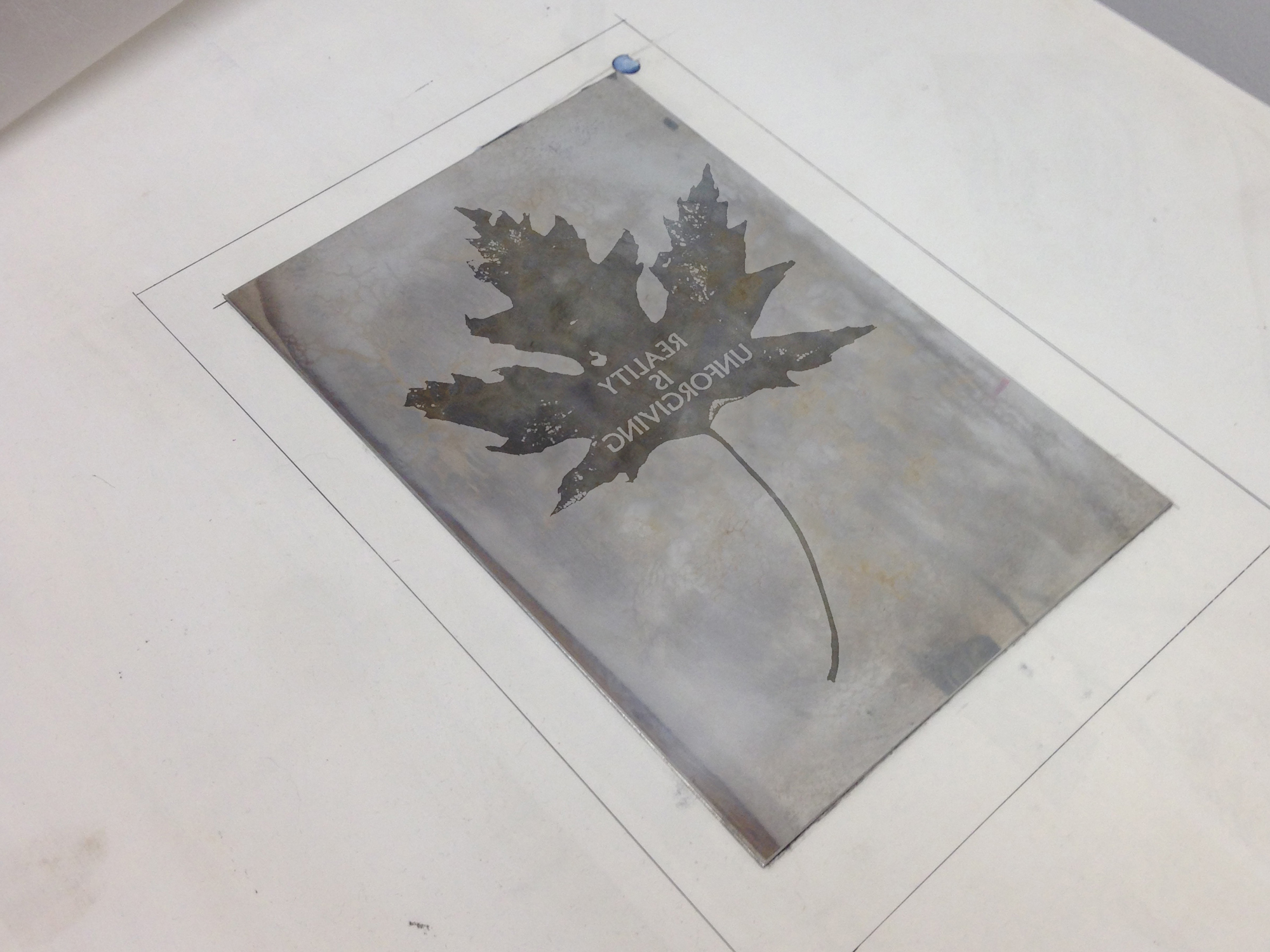 Etching plate cleaned, dried and ready for inking