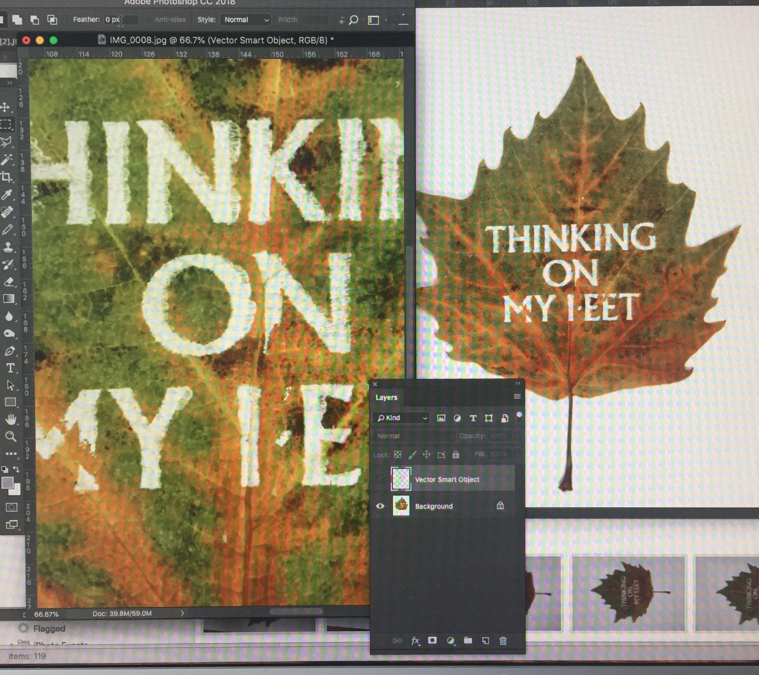 …and transferring to screen for retouch. The original leaf (having been dried and pressed for a while) had developed hardened veins which proved difficult to screen print on, so a little type retouching was needed for cover legibility purposes