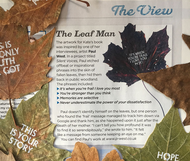 Proud to be AKA 'The Leaf Man' in Decembers issue of Country Walking!