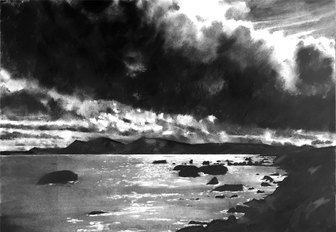 North Arran  2018 | 84 x 60cm Charcoal & compressed charcoal Signed on front   SOLD