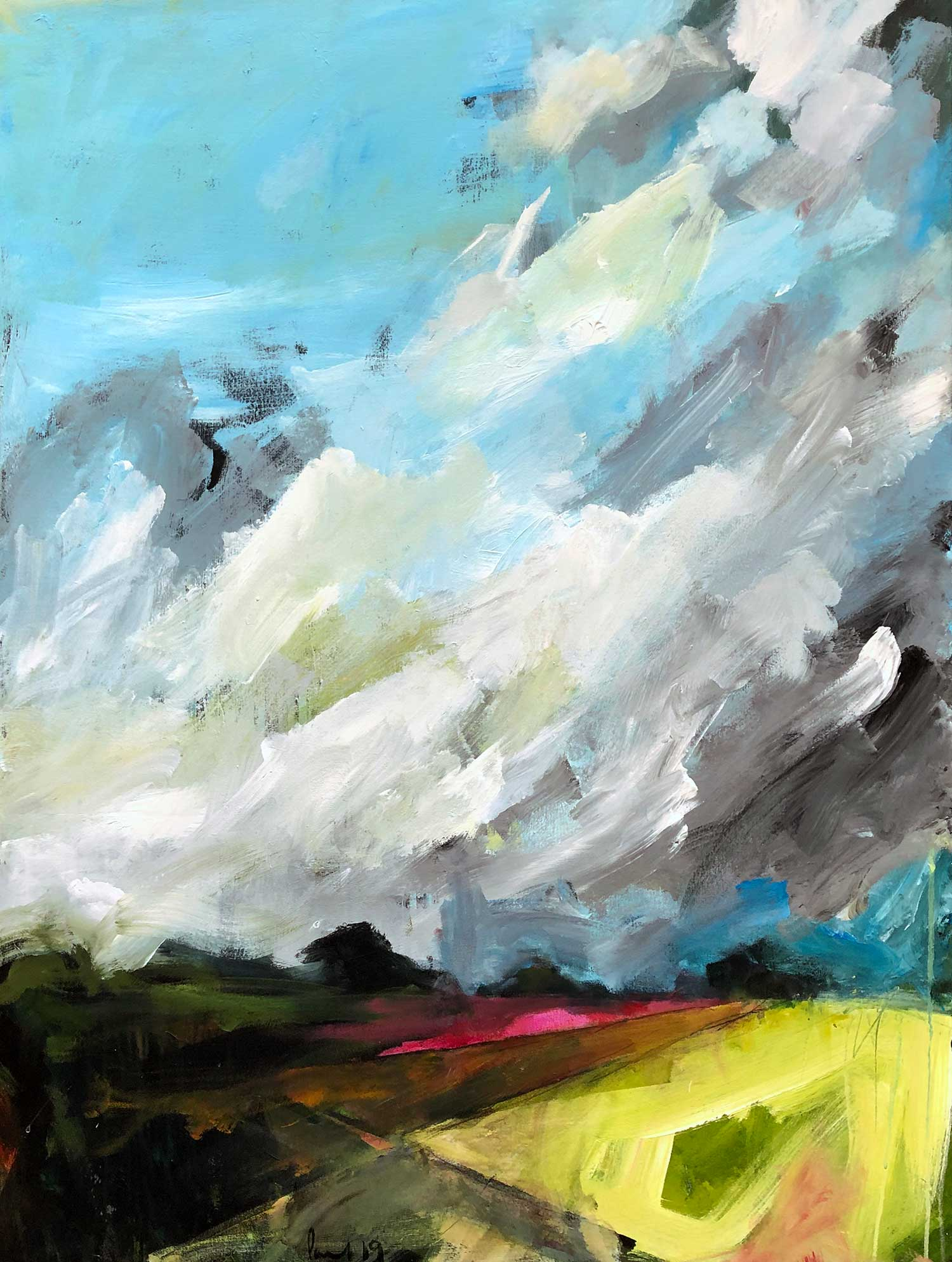 Summer Storm 2019 | 91 x 121cm (image size) 94 x 125 x 3.5cm (Framed size) Acrylic on canvas  Signed on front / reverse  SOLD